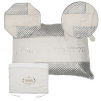 Pesach Set Faux Leather 4 Piece White and Silver Corners Design