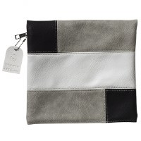 Tefillin Bag Faux Leather Grey White and Black Patchwork Design