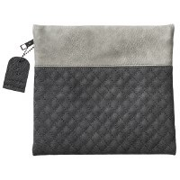 Tefillin Bag Faux Leather 2 Tone Grey Quilted Design