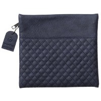 Tefillin Bag Faux Leather Blue Quilted Design