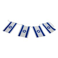 Israeli Flag Chain of 8 Small Size Flags
