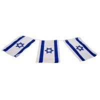 Israeli Flag Chain of 8 Large Size Flags