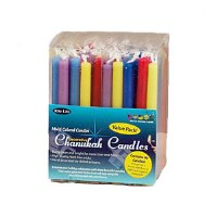 Value Pack of Decorative Multicolored Chanukah Candles, 90 per Tub
