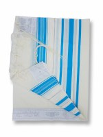 """Tallis Traditional Lurex Wool Size 24 Turquoise and Silver Stripes 24"""" x 72"""""""