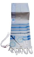 """Tallis Traditional Lurex Wool Size 50 Turquoise, Grey, and Silver Stripes 47"""" x 68"""""""