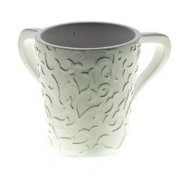 Wash Cup Polyresin White Scroll Design