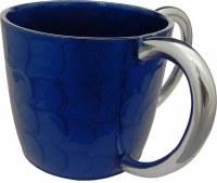 Wash Cup Enamel Navy Blue Petal Design