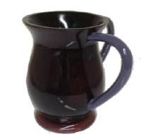 Wash Cup Acrylic Dark Burgundy with Blue Handles