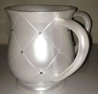 Wash Cup White Diamond Squares with Gems