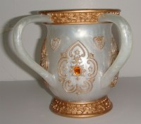 Wash Cup Pearlized White with Gold Trim