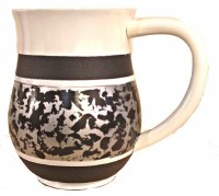 Wash Cup Silver Tone Marble Design
