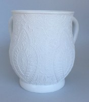 Wash Cup Acrylic White Floral Design