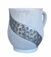 Wash Cup Combined Design of Stripe Texture and Circle Gems Stripe