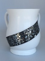 Wash Cup White with Black Crushed Glass Stripe