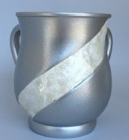 Wash Cup Silver with Ivory Stripe