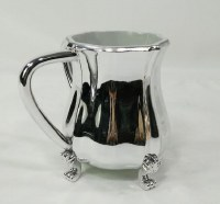 Acrylic Wash Cup with Metal Coating on Legs Silver Color