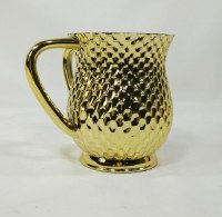 Acrylic Wash Cup with Metal Coating Honeycomb Design Gold Color