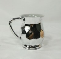 Acrylic Wash Cup with Metal Coating Hexagon Shape Silver Color