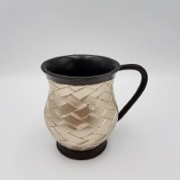 Wash Cup Acrylic Weave Design Black and Silver