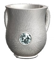 Wash Cup Silver Brushed Look with Diamond