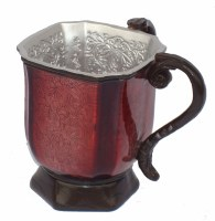 Wash Cup Square Burgundy and Silver