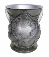 Wash Cup Silver with Silver Glitter Design