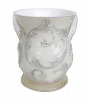 Wash Cup White with Silver Glitter Design