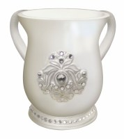 Wash Cup White with Pearl Diamond Design