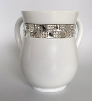 Wash Cup Acrylic White with Silver Square Stone Stripe