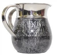 Washing Cup Stainless Steel with Silver and White Finish Design 5.5""