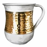 Washing Cup Stainless Steel Hammered Design on Light Grey Elegant Pattern