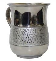 Washing Cup Stainless Steel Silver Color Panel with Design 6""