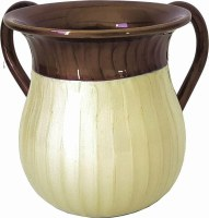 Washing Cup Enamel 2 Tone Brown and Cream