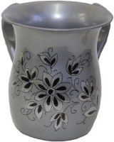 Wash Cup Stainless Steel Etched Silver Flower Design