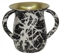 Washing Cup Stainless Steel Black and Cream Splattered Paint Design 5.5""