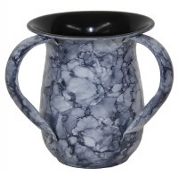 Washing Cup Stainless Steel Blue Marble Design 5.5""