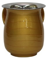 Washing Cup Stainless Steel and Gold Colored Enamel 5.5""