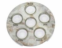 Round Metal Seder Plate White Marble Decal Kaarah