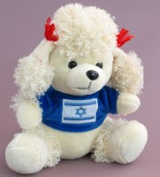 White Poodle with Israeli Flag on Blue Sweater