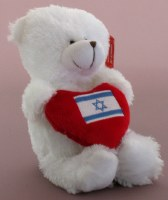 Teddy Bear with Israeli Flag Heart Red and White Small Size