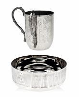 Stainless Steel  Washing Cup and Bowl Set Woodlands Design