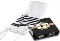 "Traditional Wool Tallis Elite Edtion Chaluke DeRabunon Side Band Only With Avodas Yad Thick Tzitzis Size Large 60"" x 72"""