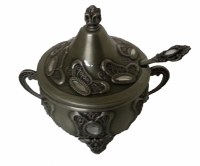 Honey Dish Pewter with Handles Accentuated with Rhinestones