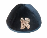 Custom Velvet Kippah Metallic Letter Custom Hebrew Letter