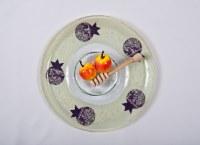 Honey Dish Glass Plate wtih Dipper Purple Pomegranate Design