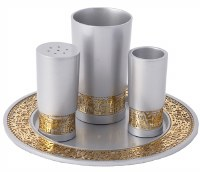 Emanuel Havdallah Set Aluminum and Copper with Gold Colored Metal Cutout Jerusalem Design