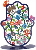 Standing Hamsa Laser Cut Colorful Butterflies and Flowers Design by Yair Emanuel