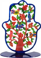 Standing Hamsa Hand Painted Colorful Pomegranates and Birds Design by Yair Emanuel