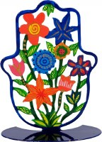 Standing Hamsa Hand Painted Colorful Flowers Design by Yair Emanuel