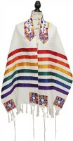 "Yair Emanuel Tallis Colorful Stripes and Magen David Design 20"""